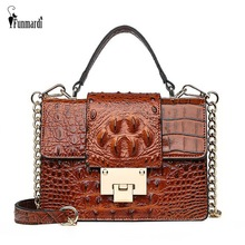 FUNMARDI Small Lock Flap Shoulder Bags Crocodile Designer Ladies Handbag Chain Strap Crossbody Bag PU Leather Women Bag WLHB2009 недорого