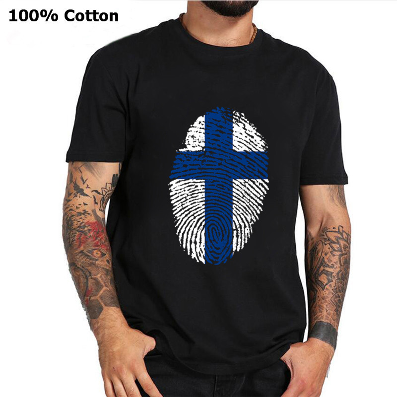 <font><b>Finland</b></font> <font><b>Flag</b></font> Fingerprint T-<font><b>Shirt</b></font> Patriotic Men Plus Size Tee <font><b>Shirt</b></font> <font><b>Finland</b></font> Nation Day Short Sleeve Pure Cotton Tshirt Brand Tops image
