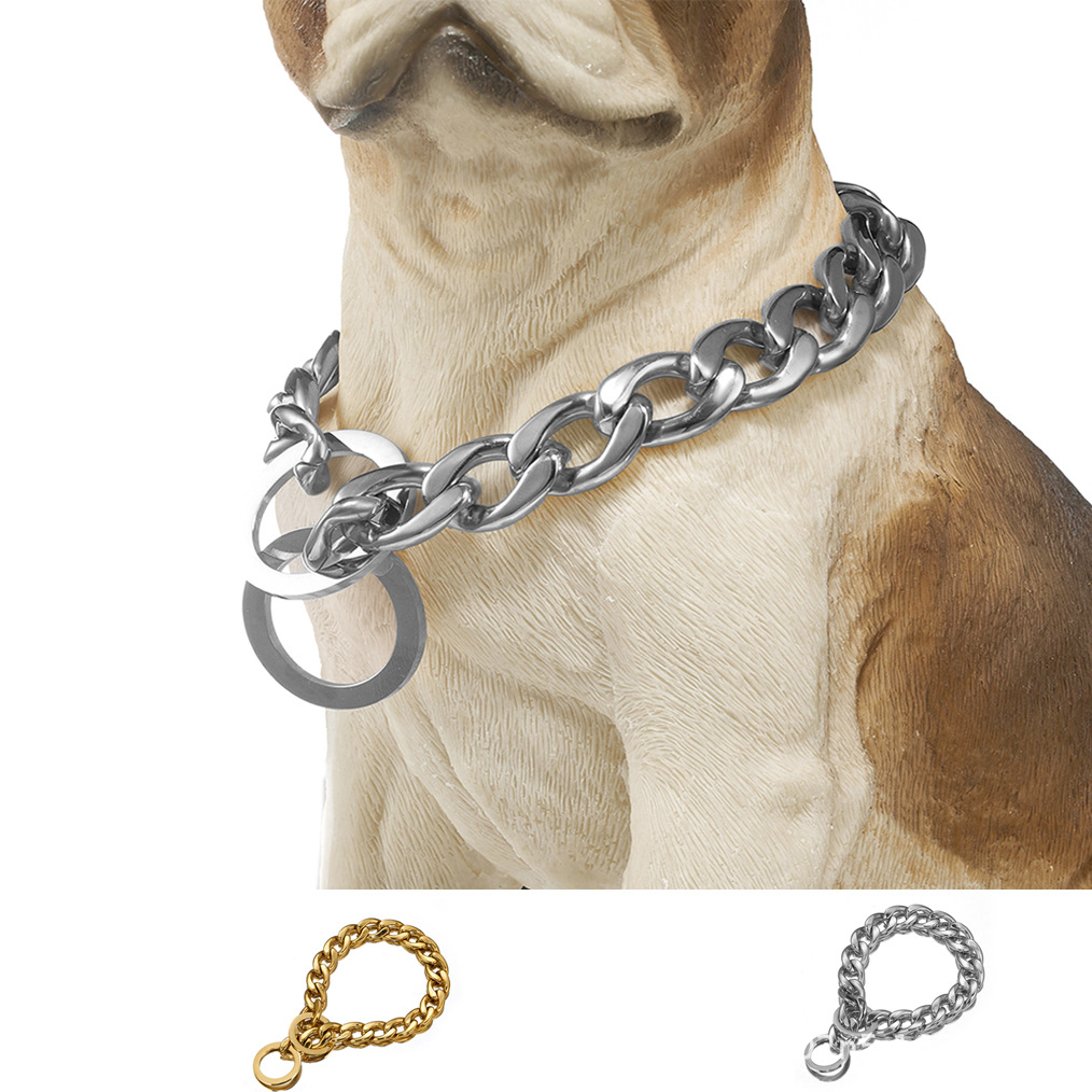 15 Mm/19mm Seamless Welding Pet Dog Chain P Pendant Stainless Steel Neck Ring Hand Holding Rope One-piece Electricity Supplier S
