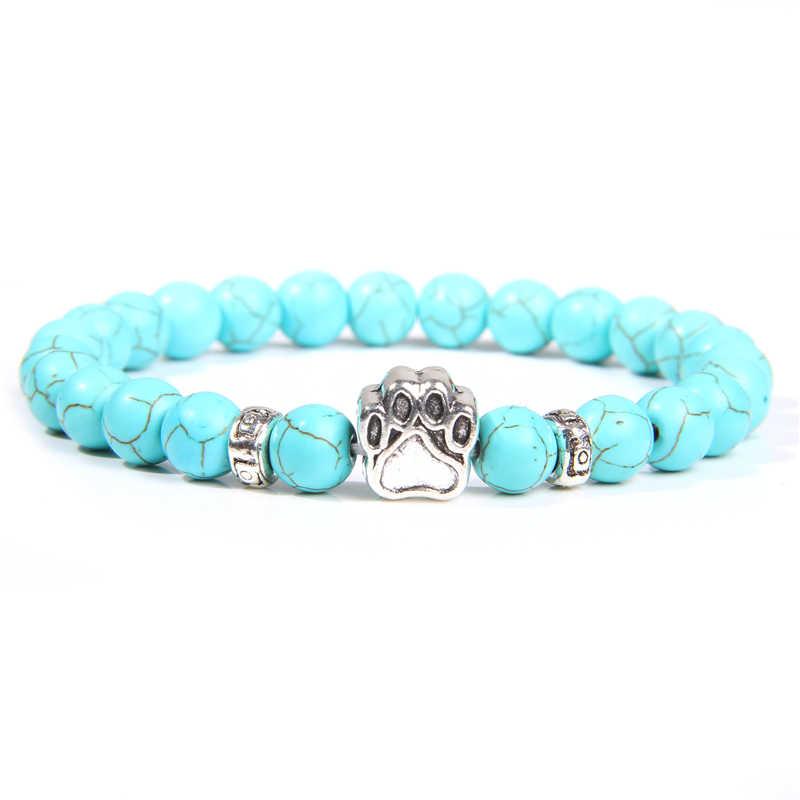 Синий Бирюзовый Браслет для пары прекрасный щенок Лапы Серебряный браслет 8 мм с натуральным драгоценным камнем браслет из бисера дружбы Pulsera