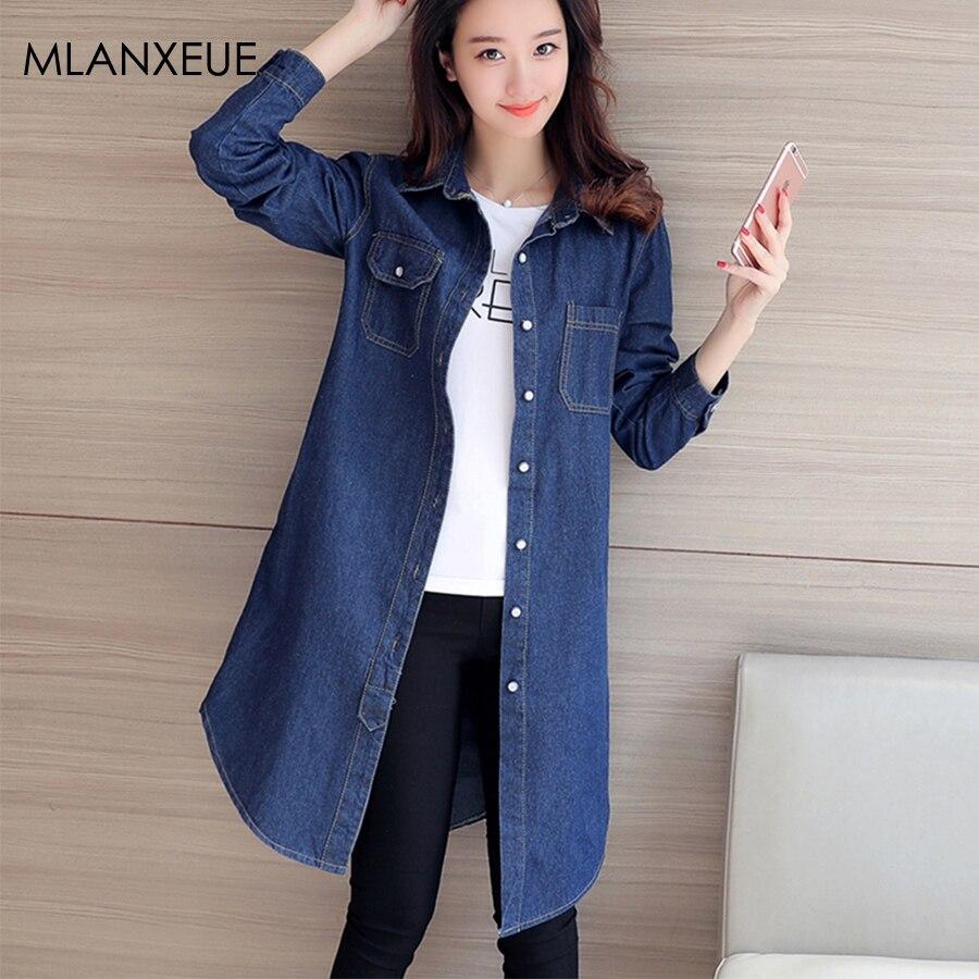 Spring Women Denim Coat Turn Down Collar Jacket Loose Casual Girls Jeans Outwear