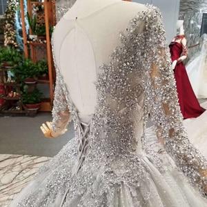 Image 5 - LS701645グレーイブニングドレス2020長袖oネックドバイ母花嫁ドレスクリスタル女性の日のドレス