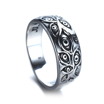 Vintage Punk Carved Eyes Mens Ring Finger Jewelry Hip Hop Rock Culture Ring Unisex Women Male Party Metal Rings Accessories 5