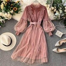 19€  vestido de fiesta rosa de encaje para mujer 2019 Otoño Invierno elegante manga larga linterna vestido gótico Vintage A Line Midi vestido fajas