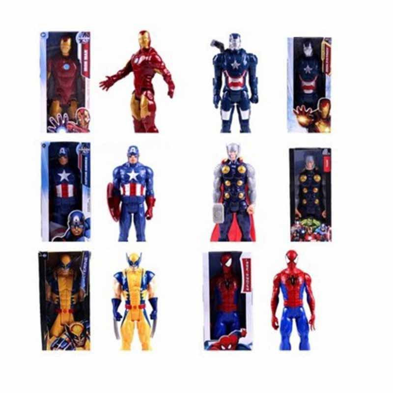 30cm Marvel Avengers Endgame Thanos Spiderman Hulk Iron Man Captain America Thor Wolverine Action Figure Toys Dolls for Kid image