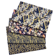 Fabric Cloth Dolls Wave Making Floral Navy-Blue Clouds Japanese Cotton Sewing Bronzing