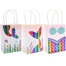 Sacs cadeaux en papier en forme de queue de sirène, 5 pièces/lot, décorations de fête d'anniversaire, fournitures de sac à bonbons pour fête prénatale pour enfants et mariage