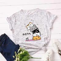 Grande taille S-5XL nouveau joli chat lettre impression t-shirt femmes 100% coton O cou à manches courtes été T-shirts hauts t-shirt décontracté