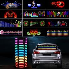 цена на 90*25 40*30 Automobile LED Equalizer Car Interiror Atmosphere Music Rhythm EL Sheet Sticker Glow Flash Panel Flashing Light