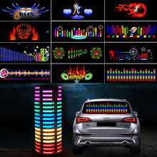 ECUALIZADOR LED para automóvil 90x25 40x30, Interiror para coche, atmósfera, música, ritmo, lámina, pegatina, Panel de Flash brillante, luz intermitente