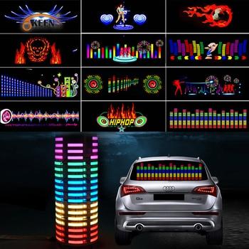 90*25 40*30 Automobile LED Equalizer Car Interiror Atmosphere Music Rhythm EL Sheet Sticker Glow Flash Panel Flashing Light - discount item  51% OFF Car Lights