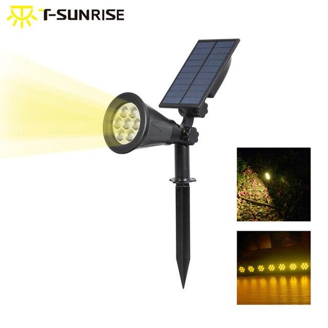 T SUNRISE 방수 7 LEDs 태양 강화한 빛 옥외 정원 점화 조경 벽 빛 3000K 온난 한 백색