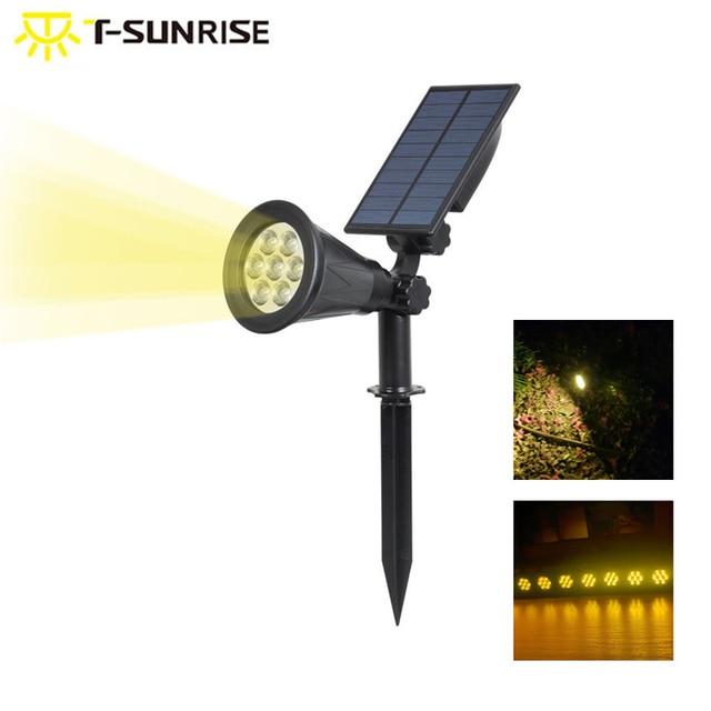 T SUNRISE Waterdichte 7 Leds Zonne energie Light Outdoor Tuin Verlichting Landschap Wandlamp 3000K Warm Wit