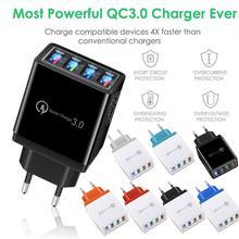 4 порта Быстрая зарядка QC 3,0 USB-концентратор настенное зарядное устройство 1118 а адаптер питания вилка для ЕС/США дорожные зарядные устройств...