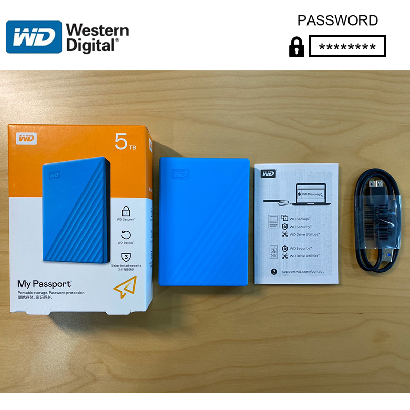 5TB Western Digital WD My Passport 5T External Hard Drive Disk WD Backup software and password protection HDD Portable image