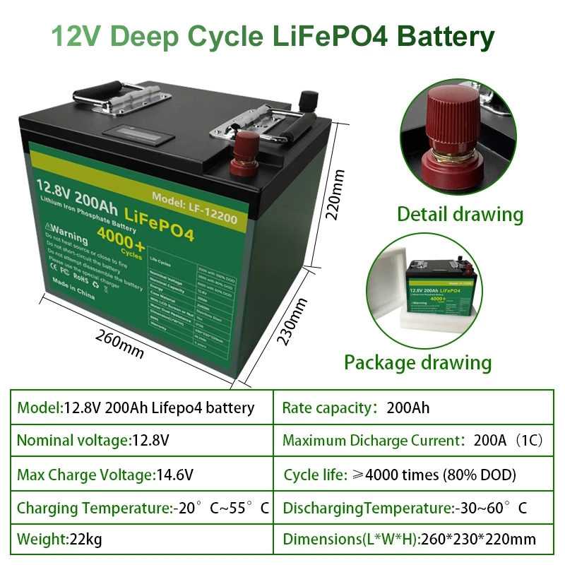 12V 200Ah LiFePO4 Batterij Pack Met Bulit Bms 2400Wh Lithium-ijzerfosfaat Lifepo4 Batterij Voor Rv Golf auto Kampeerders Geen Belasting 2