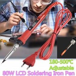 Kit de soldadores de termostato eléctrico LCD 908S 80W, pluma de soldador eléctrico de temperatura ajustable, enchufe europeo/estadounidense