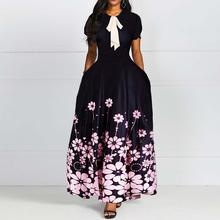 Floral Printing Short Sleeve Round Neck Bowknot Vintage A Line Women Maxi Dress Standard-Waist Dress 2019 Autumn Winter Hot Sale(China)