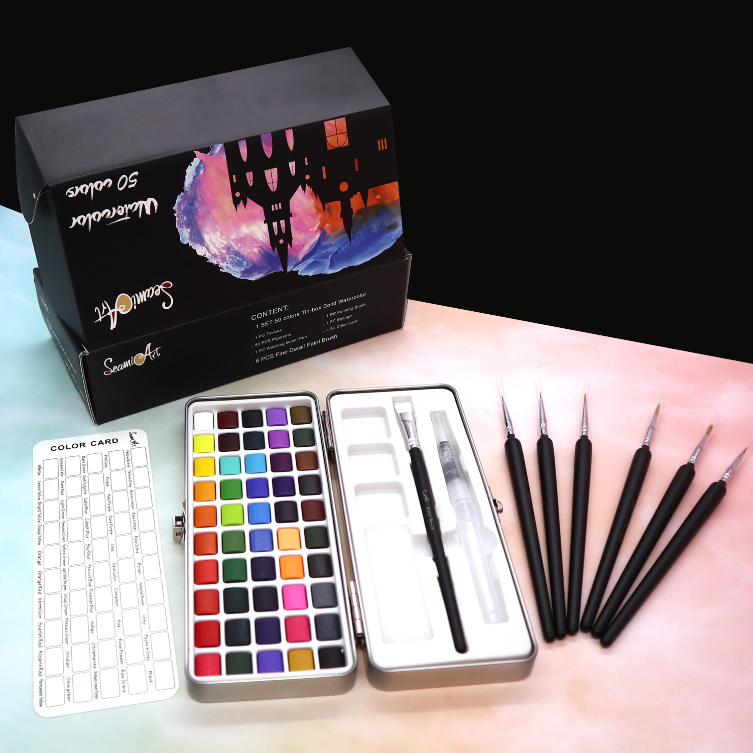 SeamiArt 50Color Solid Watercolor Paint Set Portable Metal Box Watercolor Pigment for Beginner Drawing Watercolor Paper Supplies