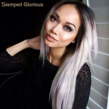 Stamped Glorious Long Silky Stright Grey Ombre Wigs for Women Middle Pa