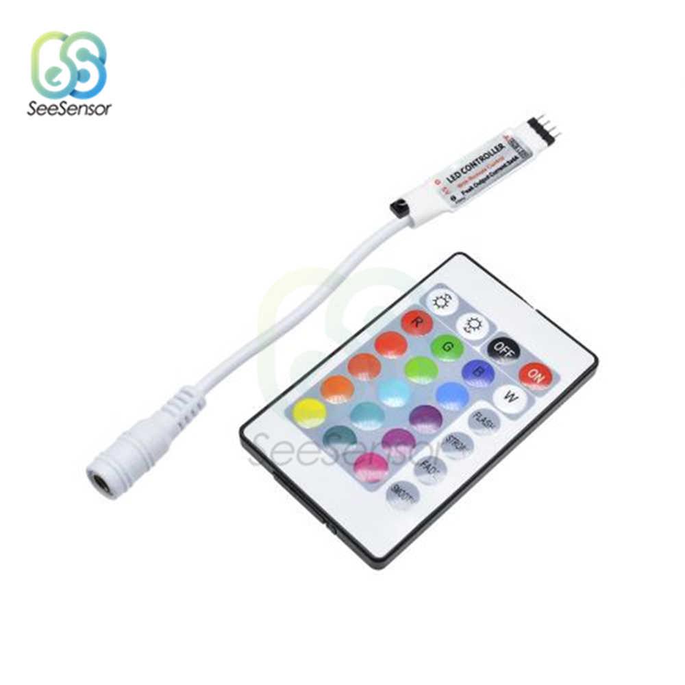 DC 5V 12V voltios RGB USB IR RF control remoto USB tira de luz LED 3 17 24 teclas mando a distancia inalámbrico para tiras LED SDM3528