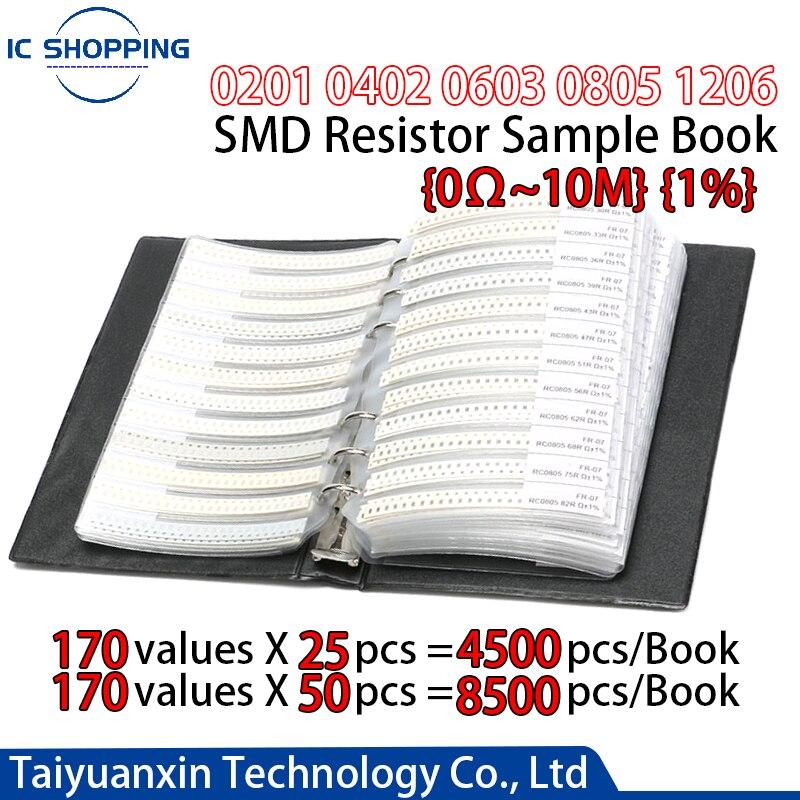 Книга 0201 0402 0603 0805 1206 SMD резистор книга 1% конденсатор с алюминиевой крышкой, пакет сопротивления компонент книга с образцами сотой точность