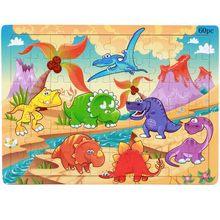 60 peças crianças parentalidade quebra-cabeça de madeira dos desenhos animados quebra-cabeças para crianças dinossauro animal mundo brinquedos de jogo