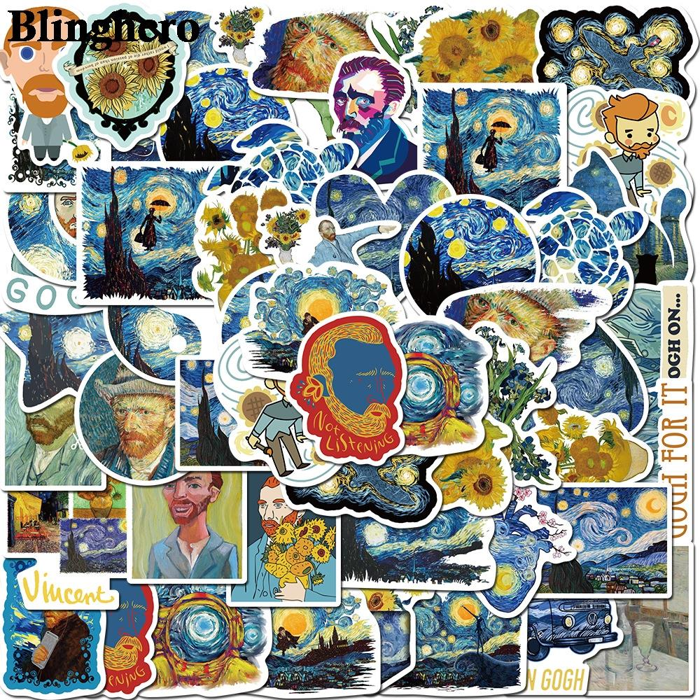 CA993 Blinghero Van Gogh Sun Flower Stickers 40pcs / Set Stickers Art Stickers Scrapbooking Stickers Laptop Car Stickers Decals