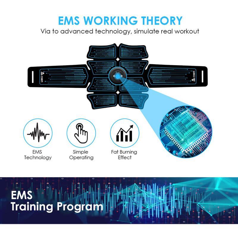 USB Перезаряжаемый беспроводной стимулятор мышц живота EMS смарт-тренажер для фитнеса Электрический массажер для тела пояс для похудения # SD