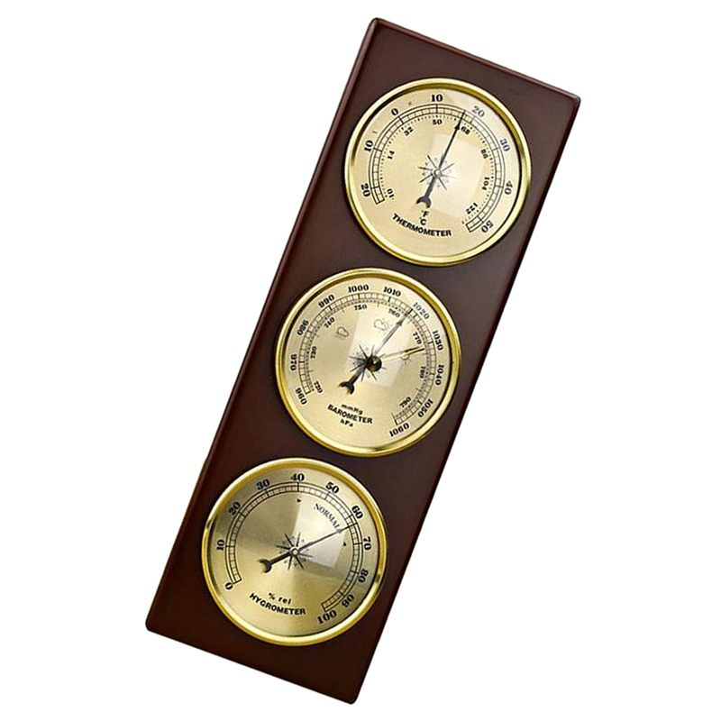 Image 2 - Wall Barometer Thermometer Hygrometer Weather Station Hanging 
