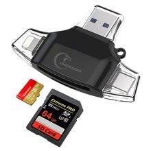 Ingelon lecteur de cartes SD type c, USB type c, MMC, mémoire Flash, adaptateur pour iPhone, iPad, MacBook, lecteur SD 4 en 1