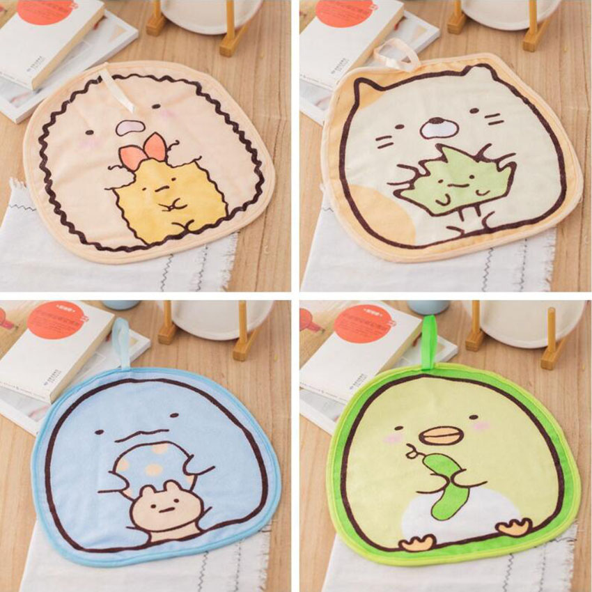 1Pc Cute Children Handkerchief Cartoon Kid Baby Soft Hanging Hand Towel Washcloth Household Kitchen Absorbent Cleaning Towels Hand Towels  - AliExpress