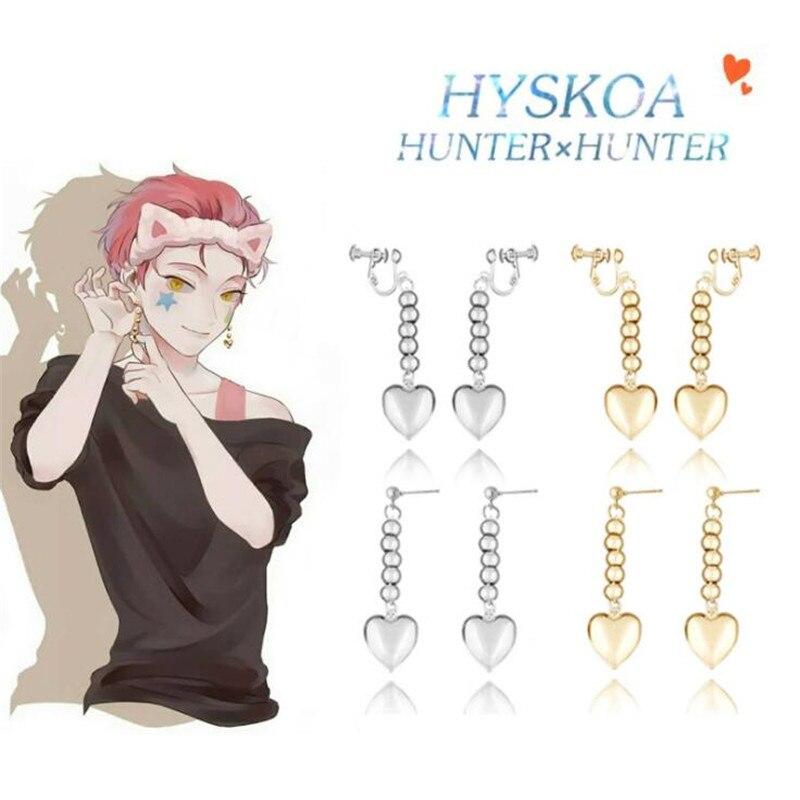 Hunter x Hunter Drop Earrings for Women Men Anime Cosplay Accessries Hisoka Kulolo Heart Poker Card Dangle Earring EH338