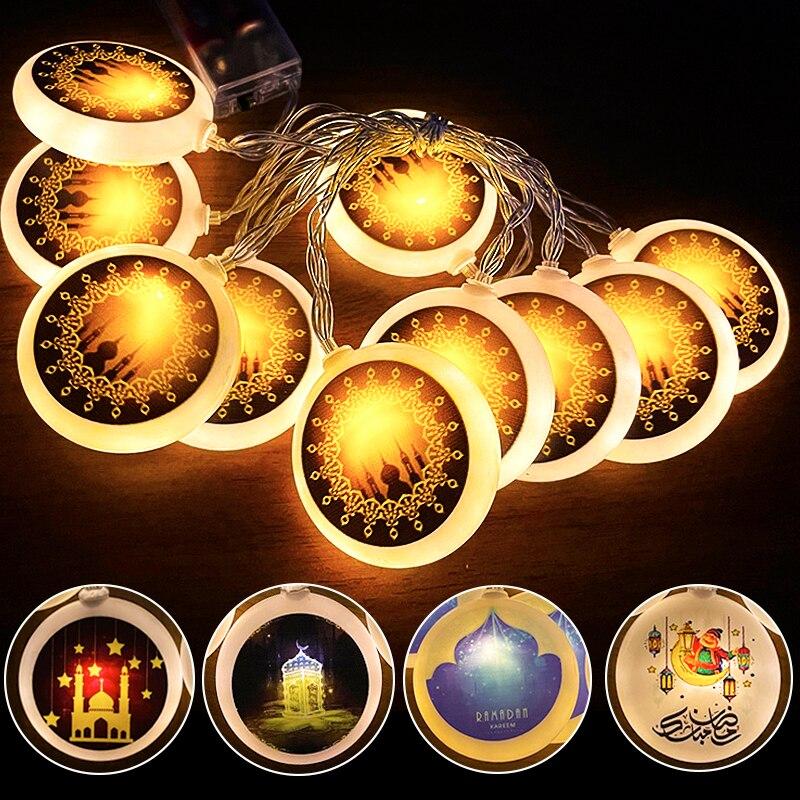 2m 10Led Eid Mubarak Led Light String gwiazda nocna lampka w kształcie księżyca islamski muzułmanin dekoracje świąteczne Home Ramadan Kareem Ornament