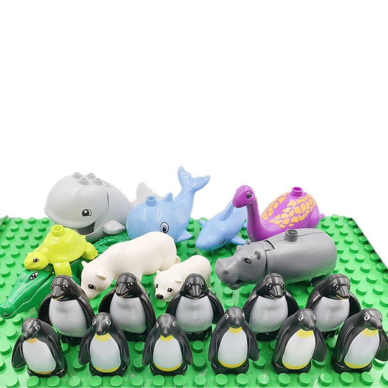 ロックデュプロ動物家族パンダ犬象ペンギンジュラ紀の恐竜大サイズのビルディングブロックのおもちゃ子供デュプロ