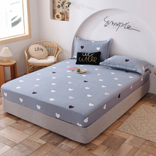 Elastic Fitted Sheet Cotton Bed Linen Home Double Couple Queen Mattress Cover 180x200 150x200cm Bedspread Customized