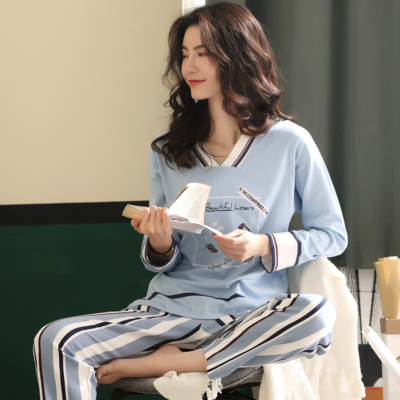 Spring and Autumn V-neck Long-sleeved Cotton Women's Home Clothes Blue Stripes Loose Comfortable Pajamas