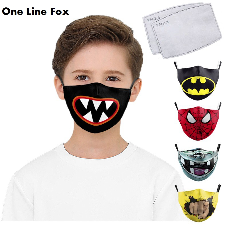 OneLineFox Cute Children's Face Mask Print Mouth Man Mask Cotton Cute Cosplay Mouth Cover Reusable Face-masks Dust Mask Washable