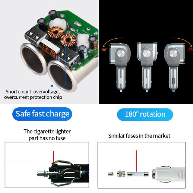 12V USB Car Charger Cigarette Lighter Socket Splitter Auto USB Charger Dual QC 3.0 USB Charge Cigarette Lighter Sockets Adapter