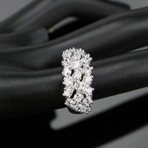 Image 5 - สีขาวเงิน 925 งานแต่งงานเครื่องแต่งกายชุดเครื่องประดับสร้อยข้อมือต่างหูจี้สร้อยคอแหวนชุดเครื่องประดับของขวัญกล่อง