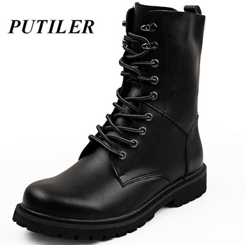 Military Tactical Ankle Boots Men Outdoor Leather Winter Fur Warm Man Boots Us Army Hunting Boots For Men Shoes Casual Black Bot 1