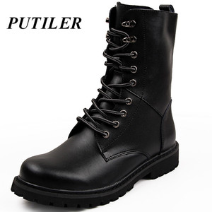 Military Tactical Ankle Boots Men Outdoor Leather Winter Fur Warm Man Boots Us Army Hunting Boots For Men Shoes Casual Black Bot