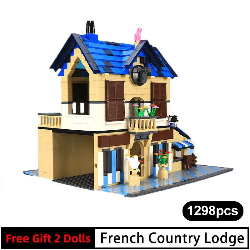 1298 pièces 531 Architecture classique blocs de construction français pays Villas/Lodge modèle maison briques éducatives enfants jouets cadeaux