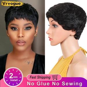 Vrvogue Pixie Cut Wig Natural Curls Short Wigs Peruvian Wig Natural Color 130% Density Human Hair Wigs For Black Women(China)