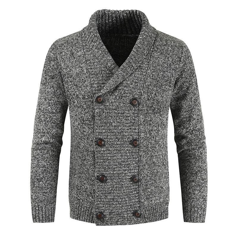 Men's Youth Casual Trend Fashion Simple Solid Color Wild Double-breasted Sweater Cardigan Coat