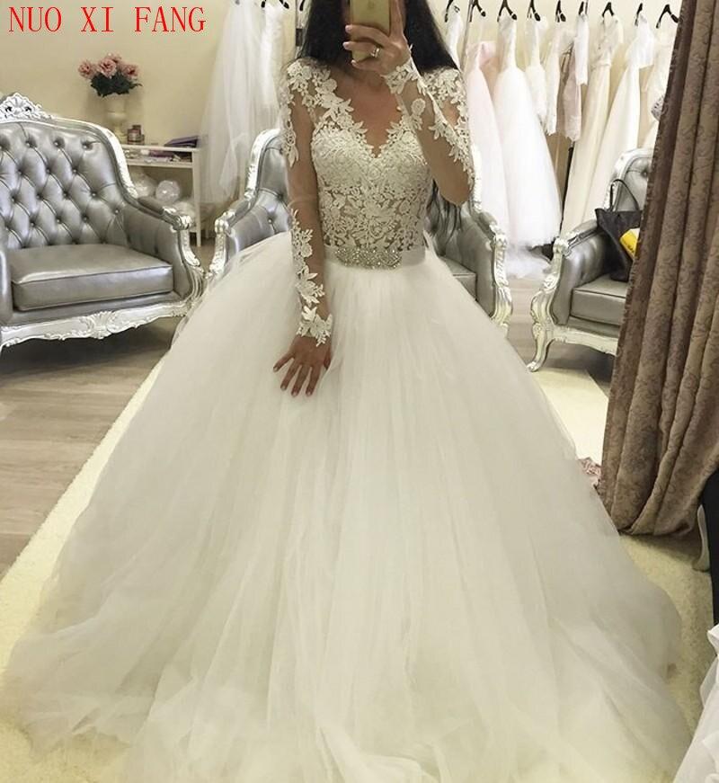 2020 V-Neck Lace Applique Wedding Dresses Long Sleeves Beaded Sash Bridal Gown Zip Back A line Vestido De Noiva Custom Made