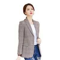 Fall winter 2019 new blazer women's long sleeve office warm plaid blazer jackets large size 5XL street casual women's long coats