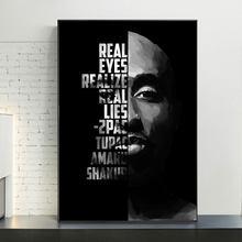 Preto e branco tupac shakur famoso hip hop rap música cantor estrelas moderno arte da parede cartaz da lona pintura a óleo imagem casa decoração