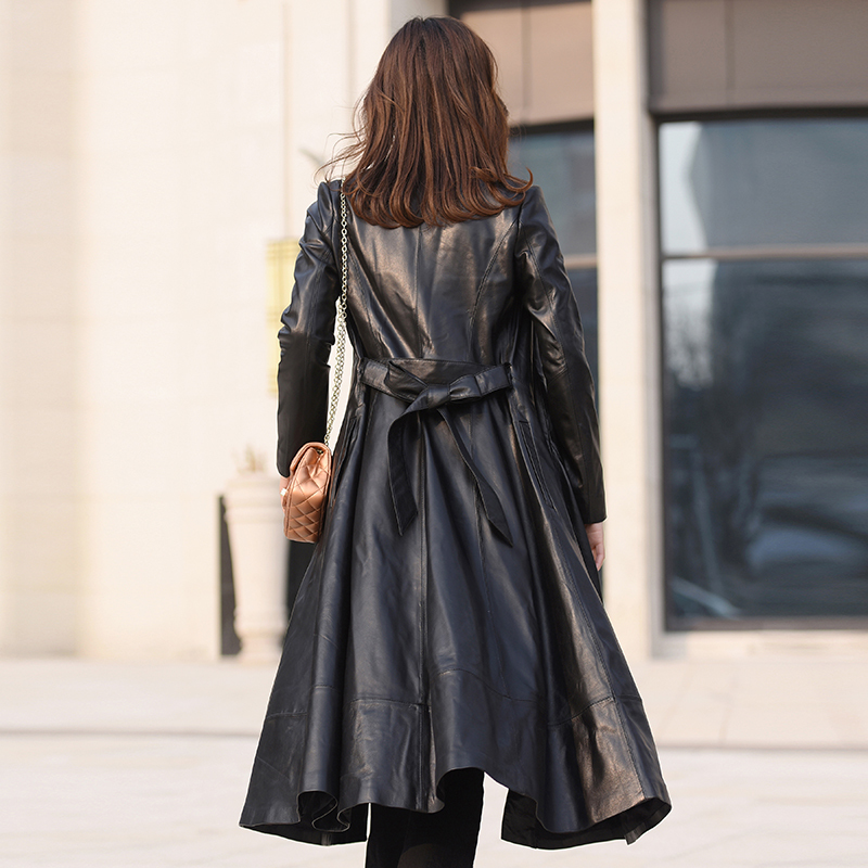 100% Real Sheepskin Coat Women Genuine Leather Jacket New 2020 Spring Long Slim Windbreaker Outerwear Jaqueta De Couro LX2624
