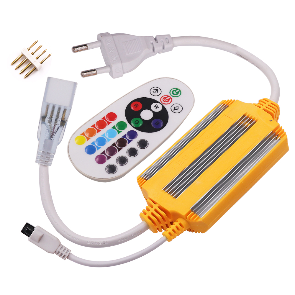 Waterproof IP68 220V Neon Light RGB Controller EU Plug 1500W With IR 24Key Remote Controller For 5050 2835 LED Strip Neon Light